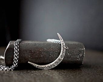 Sterling Crescent Moon Necklace , Half Moon Pendant , Moon Jewelry , Celestial Necklace