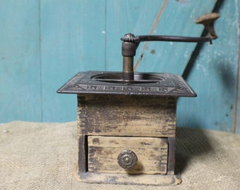 Antique Coffee Grinder, Vintage Wooden Coffee Mill