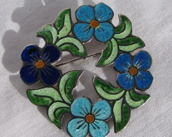 Intricate and Colorful TAXCO Flower Wreath Brooch, Blue and Green Guilloché Enameled Sterling Silver, Modernist