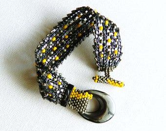 Bumblebee Bracelet Healing Hematite and Yellow Pewter Antique Silver Seed Beads Bracelet Herringbone Handwoven Cuff by AlfaStudioArtistica