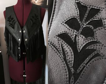 Leather fringe vest with rose cut outs