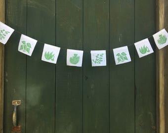 Succulent garden fabric printed garland prayer flags in green
