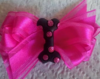 Cynthia Dog Bows DOG BONE Boutique Bow in Pink