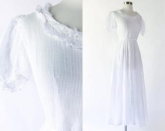 1930s vtg sheer white cotton lawn ultra full sweep maxi dress / poufed short sleeves / lace trim / bias cut / 1930s wedding bridal gown