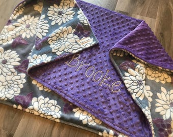 Floral Double Minky Baby Blanket, SALE! Violetta Ibiza