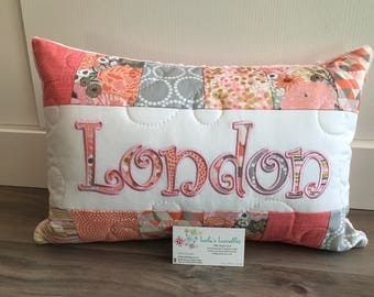 Coral, Grey, pink and gold children's pillow case with name, 12x18 inches.  Ava Rose by Riley Blake