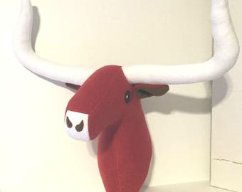 Stuffed Texas Longhorn Bull / no plaque Bull Head / Stuffed Animal Head / Faux Animal Head / Unique Easter Gift