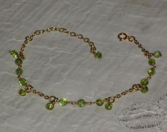 Bracelet silver Massif+ gold 22K_Vrai peridot_breloques_fait main_Creation.