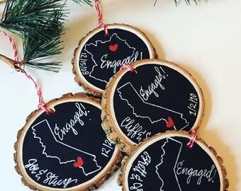 Personalized Engagement Christmas Ornament, Newlywed Wedding Gift, Engaged Christmas gift,Bride, Couple, Shower Gift, Engagement Ring,