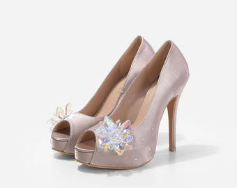 Cinderella's Glass Slippers, Wedding Shoes, Crystal Floral Bridal Shoes, Crystal Wedding Shoes, Satin Wedding Shoes