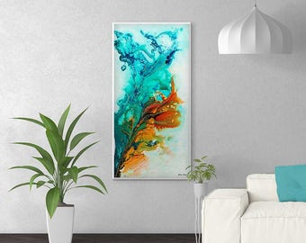 Superieur Large Abstract Painting, Abstract Art Print, Blue, Turquoise, Teal, Orange  Painting