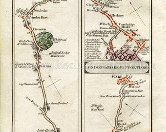 1790 John Cary Antique Road Map 37/38 Potters Bar, Wildhill, Essendon, Hertford, Ware, London, Bethnal Green, Hackney, Clapton