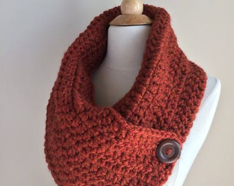 Three button scarf-rust crochet scarf-winter scarf-button scarf-cowl scarf-crochet scarf-knit scarf-winter knits