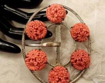 ON SALE Beautiful Vintage Carved Coral Glass Floral Belt Buckle