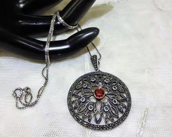 Vintage Judith Jack  Round Sterling Silver Garnet and Marcasite Pendant