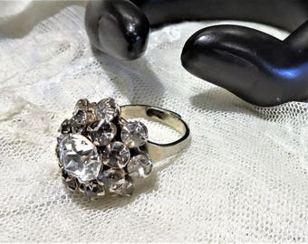 Pretty Vintage Clear and Smoky Rhinestone Tiered Cluster Ring