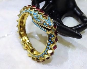 RESERVED KR Beautiful Vintage KJL (Kenneth J Lane) Red Rhinestone  Turquoise Bead Snake Bypass Bangle