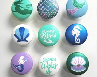 Mermaid Drawer Knob, Mermaid Ocean Drawer Pull, Mermaid Decor, Single Drawer Knob