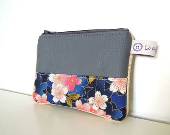 "Wallet "" Grey imitation leather, japanese pink flowers and golden piping """