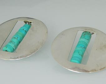 Navajo Native American Turquoise Sterling Silver Dead Pawn Post Earrings