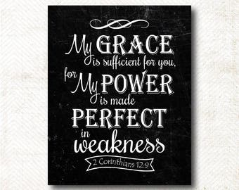 My grace is sufficient for you, Chalkboard Style Print, Scripture Art Print, Art Print