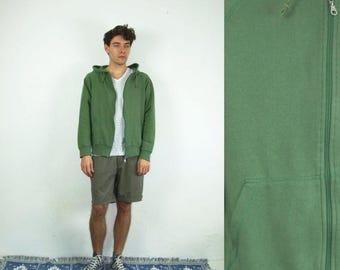 ON SALE 90's vintage men's green minimal hoodie