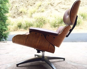 Selig Eames Lounge in Cappucino new Leather and Oak