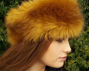 Golden Faux Fur Headband / Neckwarmer / Earwarmer Handmade in Lancashire England