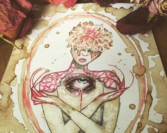 Original Artwork_Gothic Decor_Horror Decor_Watercolor Painting_Flower Artwork_Dark Art_ Creepy Art_Wall Art_Painting by Crystal Cox_6x8
