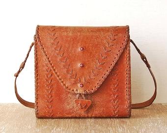 70s Bordeaux Leather Bag, Tooled Leather Handbag, Antique Woman Purse, Vintage Shoulder Embossed Leather Bag