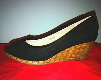 Black Peephole Wedge Shoes