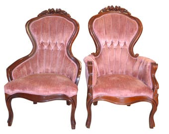 Kimball Victorian Parlor Chairs Set, His & Hers, Armchairs, Upholstered,  PA4871,