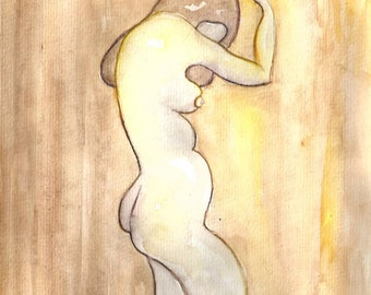 NUDE BODY POSITIVE curvy woman nudes erotica original watercolor painting best selling items art sexy erotic female nude lovely etsy etay