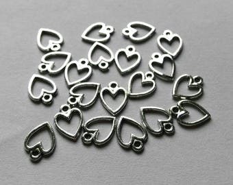 20 Silver Plated Heart Charms Pendants