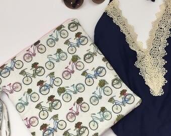 Vintage Bicycle Wet Bag, Swimsuit bag, Waterproof Bag, Toiletry Bag, Cloth Diaper Bag, Summer Swim Bag, Bicycle Beach Bag, Gift Under 30