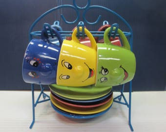 Six China Happy Face Collection Espresso Cup & Saucer With Storage Rack