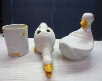 Vintage Childrens Duck Soap Dish, Toothbrush Holder And Water Glass