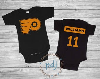 Philadelphia flyers etsy personalized philadelphia flyers baby one piecebib hockey one piece perfect as a negle Image collections