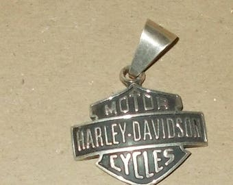 Vintage Sterling Silver Harley Davidson Pendant Weighs 12 grams 1.5 inches across Marked 925