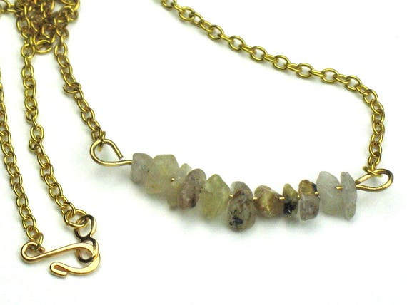 Quartz Gold Chain Bar Necklace with Wire Wrapped Earthy Rutilated Quartz Nuggets