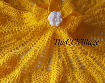 Yellow Crochet baby dress, Handmade girl dress, White Flower  Dress