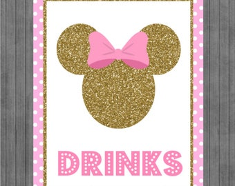 ON SALE!!  Mouse Birthday Sign, Pink and Gold, Drink sign