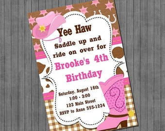ON SALE Cowgirl Birthday Invitations