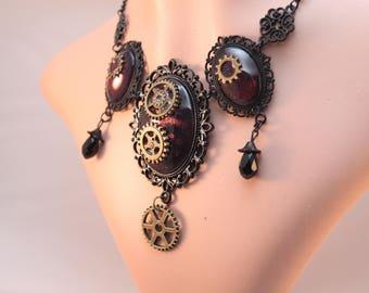 Necklace/necklace, earrings - steampunk gears DarkRed