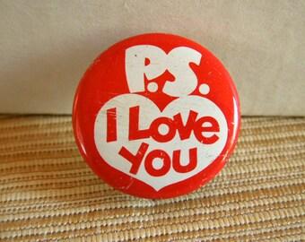 Vintage P.S. I Love You, vest, hat, lapel pin.