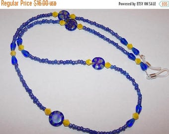 15%OFF Blue Millefiori Yellow Crystal Blue Seed Bead Eyeglass Holder