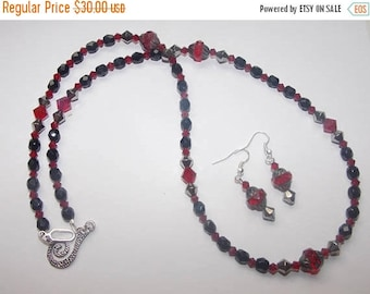 20%OFF Red  Picasso Glass Black Czech Glass Silver Crystal Red Crystal Necklace and Earring Set
