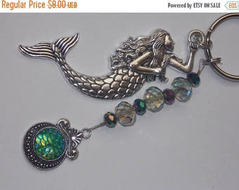 15%OFF Large Silver Mermaid and AB Green Mermaid Scales Charm Green Faceted Glass Beaded Keychain Purse Charm