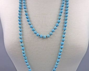 Semi Precious Stone Hand Knotted Necklace 60 inches