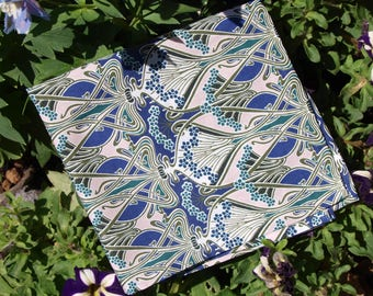 "Handstitched Liberty of London Blue, White and Pale Pink ""Ianthe"" Cotton Handkerchief/Pocket Square"